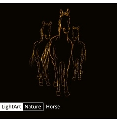 Horse silhouette of lights on black background vector image