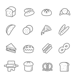 Lines icon set - bread and bakery vector