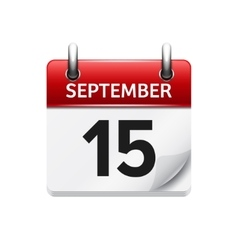 September 15 flat daily calendar icon vector image
