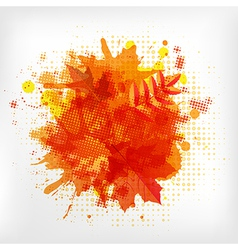 Abstract orange with blobs autumn leafs vector