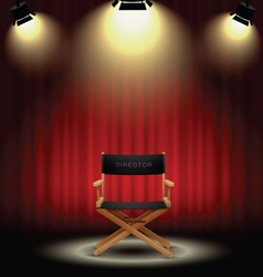 background curtain and directors chair with vector image