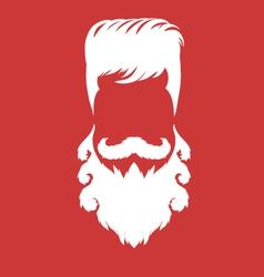 Bearded man silhouette with long hair vector