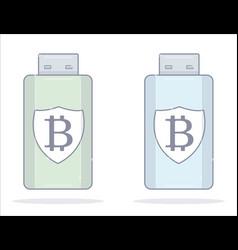 bitcoin wallet usb flash drive cartoon style vector image vector image