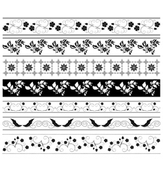 black floral ornaments - set vector image