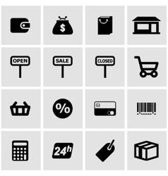 black shop icon set vector image vector image