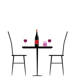Chair and table with wine vector