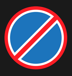 Clearway and no parking sign flat icon vector