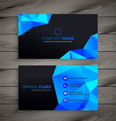 Dark low poly business card vector