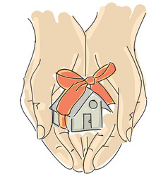 Drawn humans hand holding house with ribbon vector
