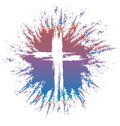 Grunge style cross on colorful splash vector