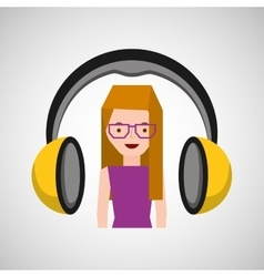 headphones music character girl glasses vector image