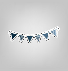 holiday flags garlands sign blue icon vector image vector image