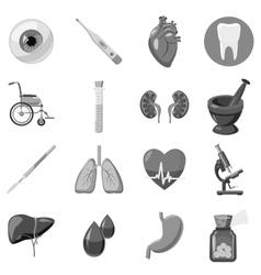 Human organ and medical equipment icons set vector