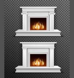 Indoor fireplace set on transparent background vector