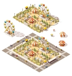 Isometric low poly amusement park vector