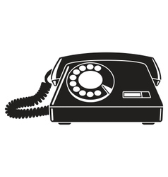 Old telephone 60-80s Black and white vector image vector image