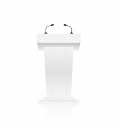 podium tribune stand rostrum with microphones vector image