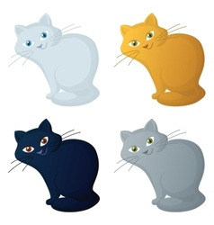 Red cartoon cat set vector image