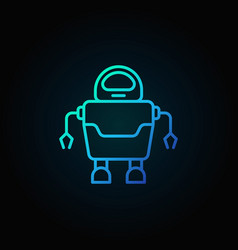 robot concept blue icon in thin line style on dark vector image vector image