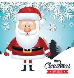 santa claus card merry christmas snowfall tree vector image vector image