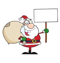 Santa Holding A Blank Sign vector image