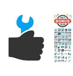 Service hand icon with 2017 year bonus symbols vector