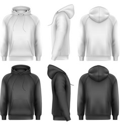 Set of black and white male hoodies with sample vector image