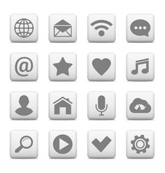 set of universal icons on web buttons vector image