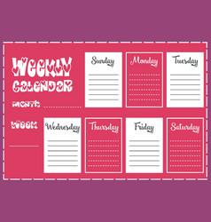 Weekly calendar report vector