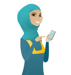 Young muslim business woman holding mobile phone vector