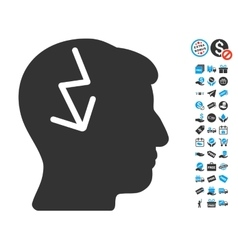 Brain electric strike icon with free bonus vector