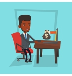 Businessman earning money from online business vector