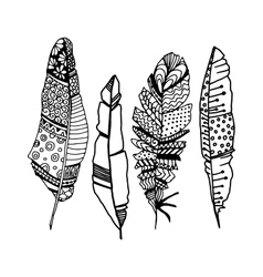 Decorative line art doodle style tribal feathers vector