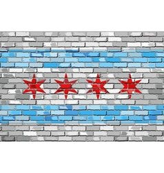 Flag of chicago on a brick wall vector
