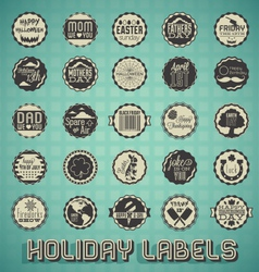 Mix of holiday labels and icons vector