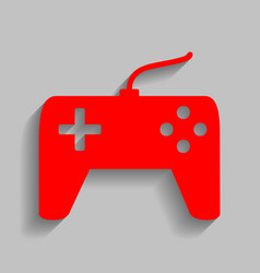 Joystick simple sign  red icon with soft vector