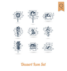 dessert icon set in modern flat design style vector image