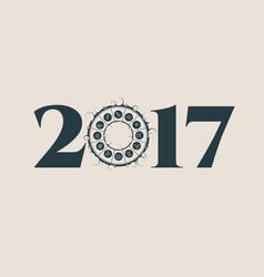 New year and christmas card zodiac circle vector