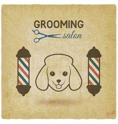 pet grooming salon logo design vintage background vector image