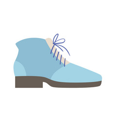 Blue lace-up shoe isolated footwear flat icon vector