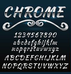 Chrome shiny retro vintage font typeface mado vector