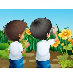 Two boys taking photos of the flowers vector
