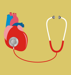 Heart with stethoscope test check internal vector