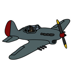 Old propeller fighter vector