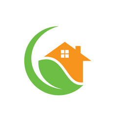 Circle home leaf eco nature logo vector