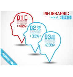 Infographic head style 2 blue vector