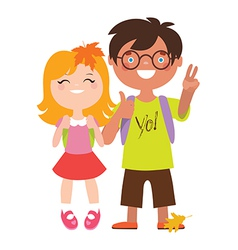 School students couple vector