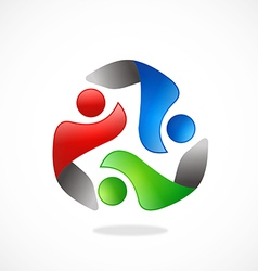 People circle teamwork logo vector