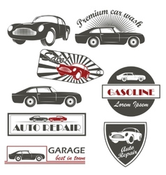 Set of vintage car symbols car service and vector