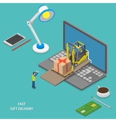 Fast gift delivery isometric vector